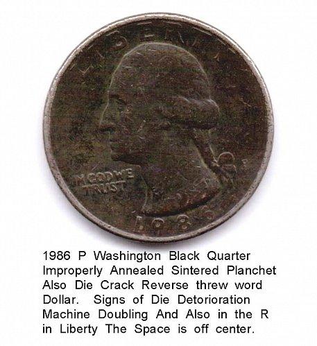1986 P Black Quarter Improper Annealing Multi Errors