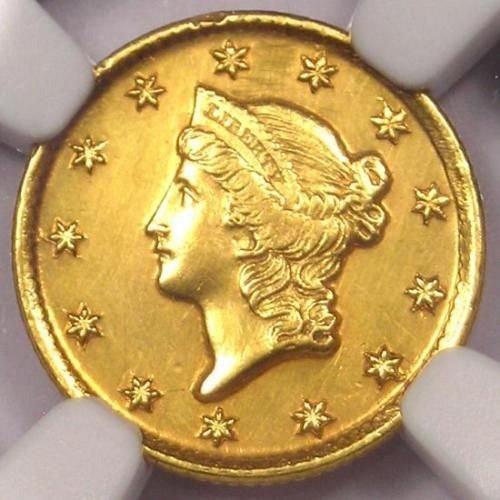 1853-D Liberty Gold Dollar G$1 - NGC AU Details - Rare Date Dahlonega Gold Coin!