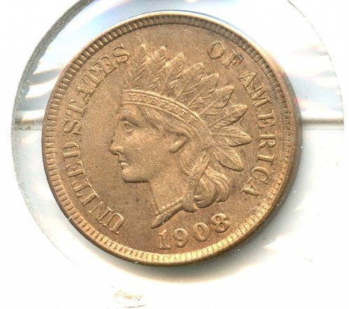1908 Indian Cent Philadelphia bronze