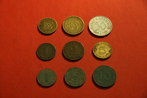 Lot of 9 German mostly third reich nazi coins