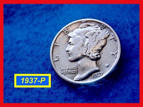 1937-P Mercury Dime   🎯   (#3287)