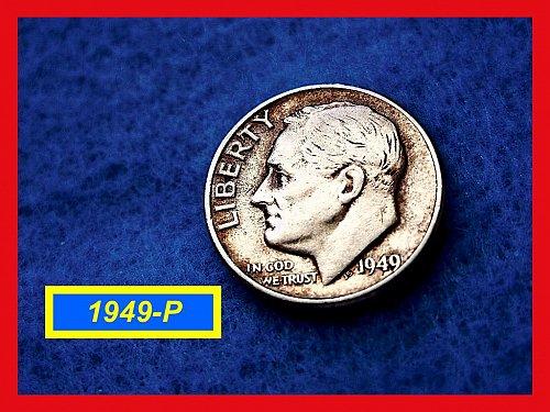 "1949-P Roosevelt Dime Gem ""BU"" Silver Dime   (#3281)"