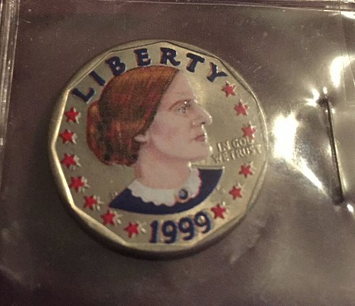 1999 Painted Susan B Anthony Dollar