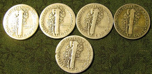 Mercury dimes1920, 20-S; 23; 24; & 25 /D-34 FINAL LISTING   ------