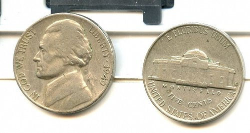 2,1949 S Jefferson nickels SanFrancisco VF