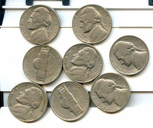 8,1953 S jefferson Nickels XF-AU