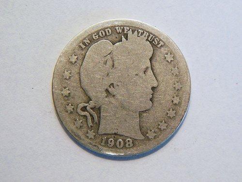 1908-P Silver Barber Quarter