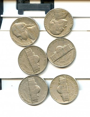 6 1954 S Jefferson Nickels F-AU