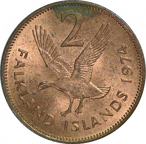 Falkland Islands, 2 Pence, 1974,  (Item 18)