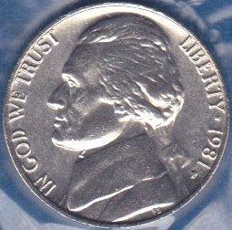 1981 P Jefferson Nickel, From Mint Set