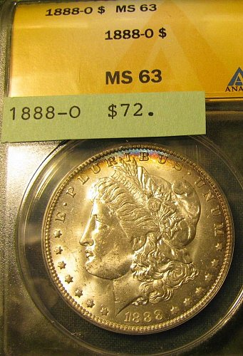 Certified 1888-O Morgan Dollar MS 63 Win 1st; Win 2nd $ only get 10 % refundPay