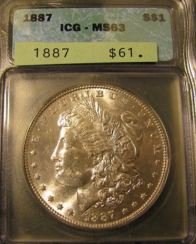 Certified 1887 Morgan Dollar MS-63 Win 1st; Win 2nd $ only; get 10%refund Pay Pa