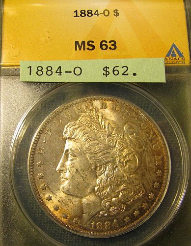 Certified 1884-O Morgan Dollar MS-63 Win 1st; Win 2nd only $ get 10% refund @ Pa