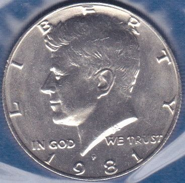 1981 P Kennedy Half Dollar, From Mint Set