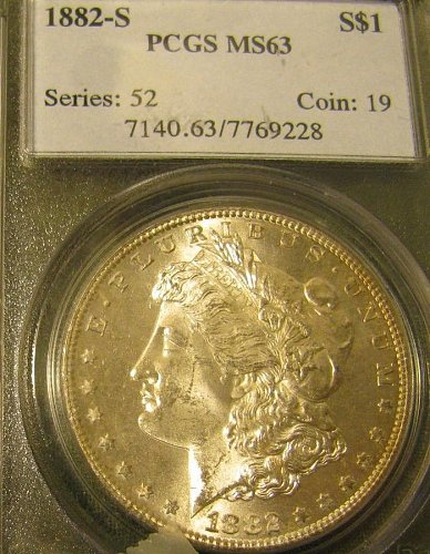 Certified 1882-S Morgan Dollar  MS-63 Win 1st; Win 2nd $ get 10% refund from P.P