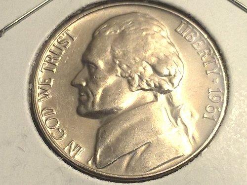1961-P Jefferson nickel, w/steps, PR AU