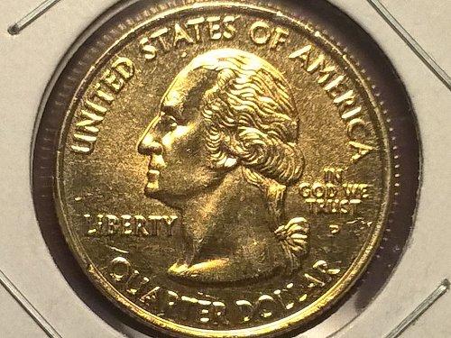2002-P Mississippi State Hood quarter, 24k GP, AU (55)