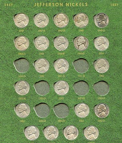 1947-57 Jefferson nickels PDS (folder not included)