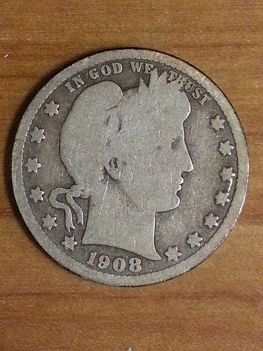 1908-S Barber Quarter