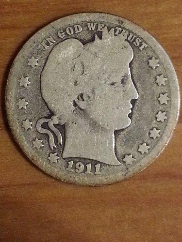 1911-S Barber Quarter