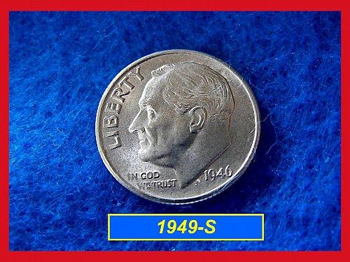 """1949-S Roosevelt Dime Gem """"AU"""" Silver Dime   (#3340)"""