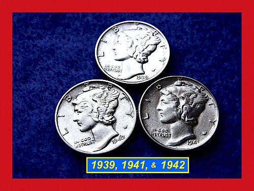 "1939, 1941, 1942   Mercury Dimes  ••• ""AU"" Condition •••  (#3189)"