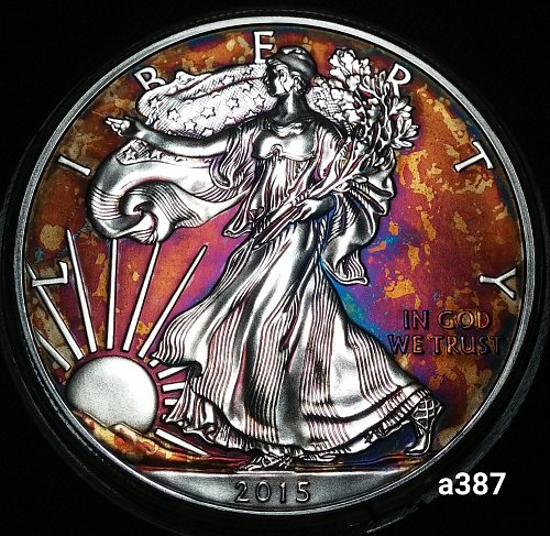 2015 Rainbow Toned Silver American Eagle 1 troy ounce silver Monster toned #a387