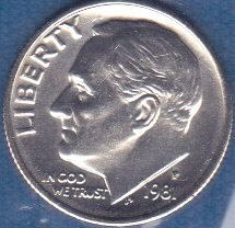 1981 P Roosevelt Dime, From Mint Set