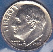 1981 D Roosevelt Dime, From Mint Set