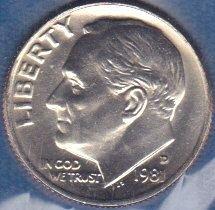 1981 D Roosevelt Dime, From Mint Set