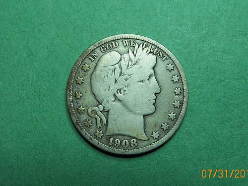1908 D Barber Half Dollar Very Good-Fine Coin   h22