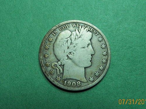 1908 D Barber Half Dollar Very Good-Fine Coin   h22