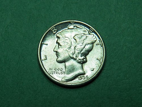 1936 P Mercury Dime Brilliant Uncirculated Split Band Coin   h24