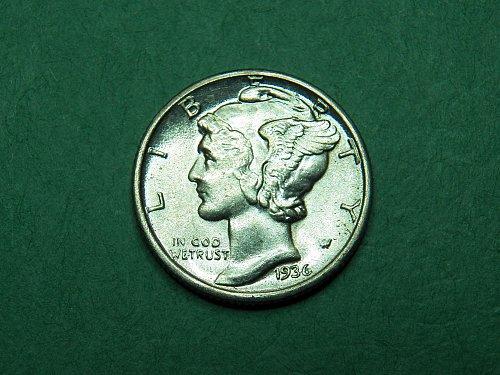 1936 P Mercury Dime Brilliant Uncirculated Split Band Coin   h24