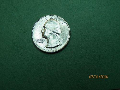 1946 S Washington Quarter Brilliant Uncirculated Coin   h28
