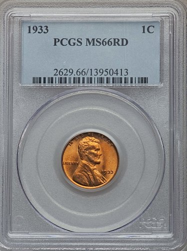 1933-P Lincoln Cent - PCGS MS66RD - List price 450-490