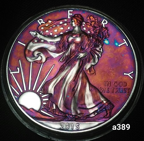 2015 Rainbow Toned Silver American Eagle 1 troy ounce silver Monster toned #a389