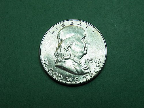 1950 P Franklin Half Dollar Brilliant Uncirculated Gem Coin   h42