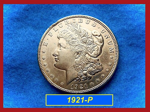 "1921-P Morgan Silver Dollar • • •   ""AU-50""  (#5245)"