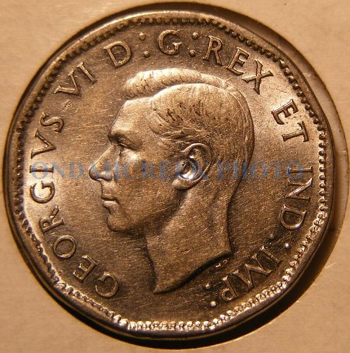 1945 Canada Nickel Five Cents KM #40a AU