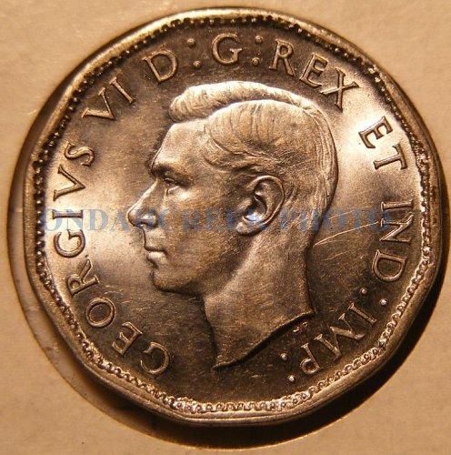 1945 Canada Nickel Five Cents KM #40a BU