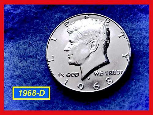 "1968-D  Kennedy Half Dollar •• ""MS-62"" •• (40% Silver)  (#1556)"