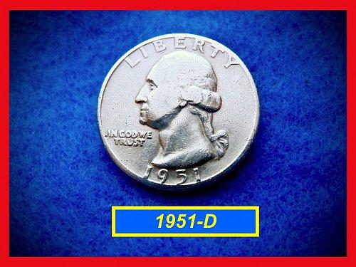 """1951-D  Washington Quarter ⭕️ Circulated Condition""""  (#2410)"""