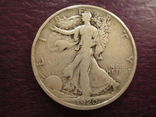1920-S Walking Liberty Half Dollar Fine-15 Nice Light Pearl Grey Patina!