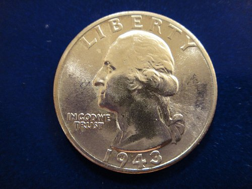 1943 Washington Quarter MS-65 (GEM) Nice BLAST WHITE Coin!