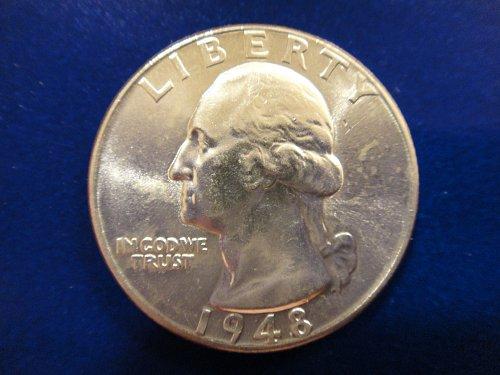 1948 Washington Quarter MS-65 (GEM) Nice White Coin Esp Rev Luster!