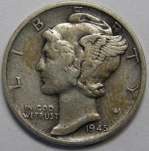 1945 S Mercury Dime #5  Micro S