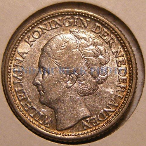 1944 P Netherlands Silver 25 Cents KM# 164 Gold Rim AU