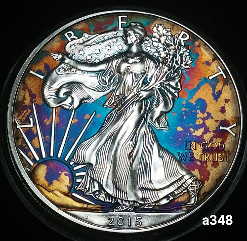 2015 Rainbow Toned Silver American Eagle 1 troy ounce silver Monster toned #a348