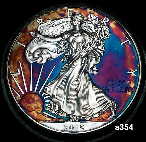 2015 Rainbow Toned Silver American Eagle 1 troy ounce silver Monster toned #a354